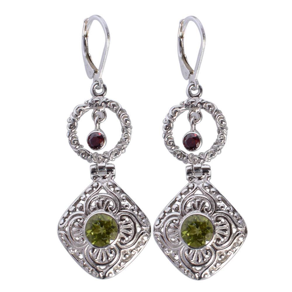 Ravishing Impressions Stylish Jewellery Green Peridot Gemstone Earring 925 Solid Sterling Silver New Girls Jewelry FSJ-3216