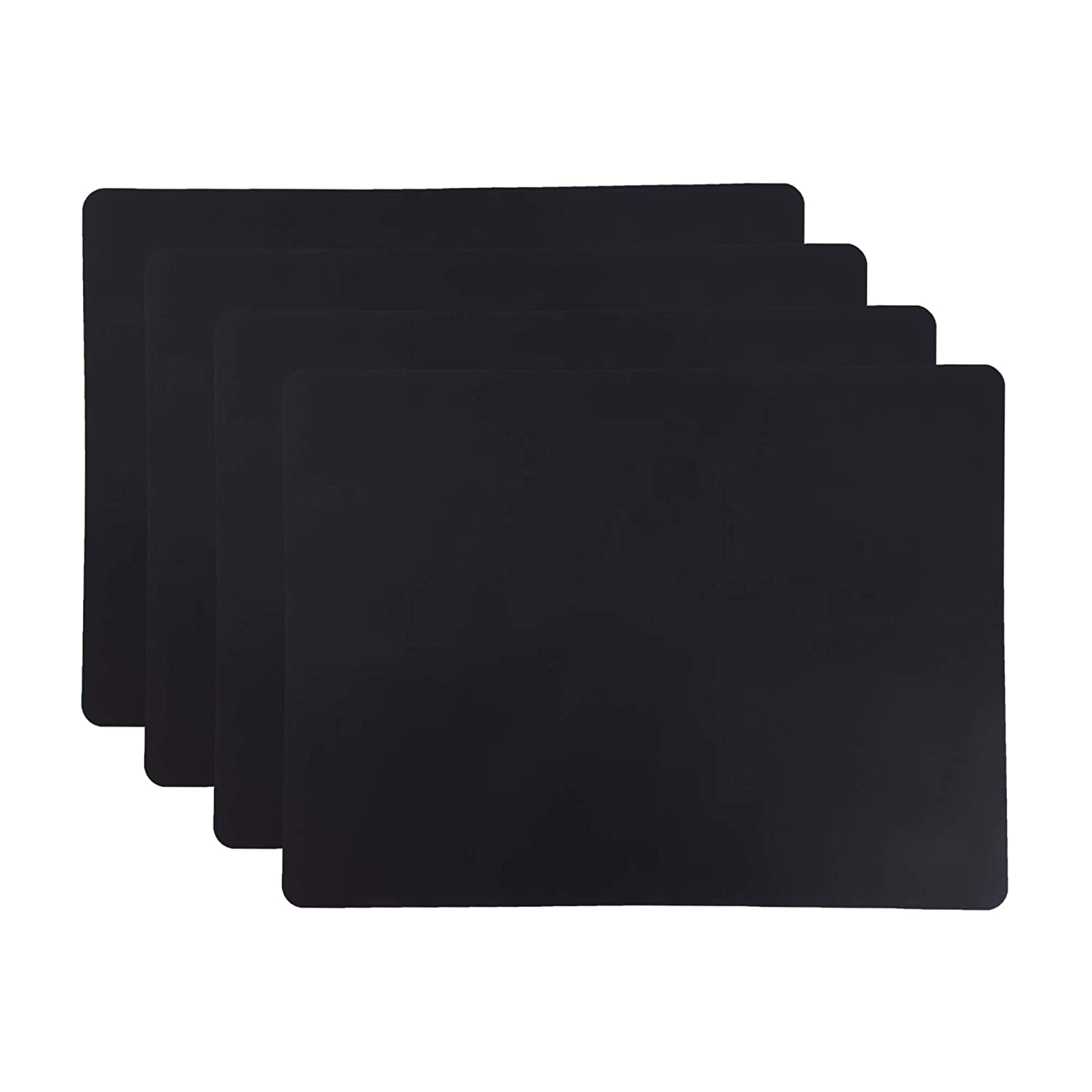 Whalesee Silicone Placemat Set 4-Piece - Kids Placemats – Non Slip, Soft, Heat Resistant, Waterproof, Food Grade Toddler Place Mats (Black)