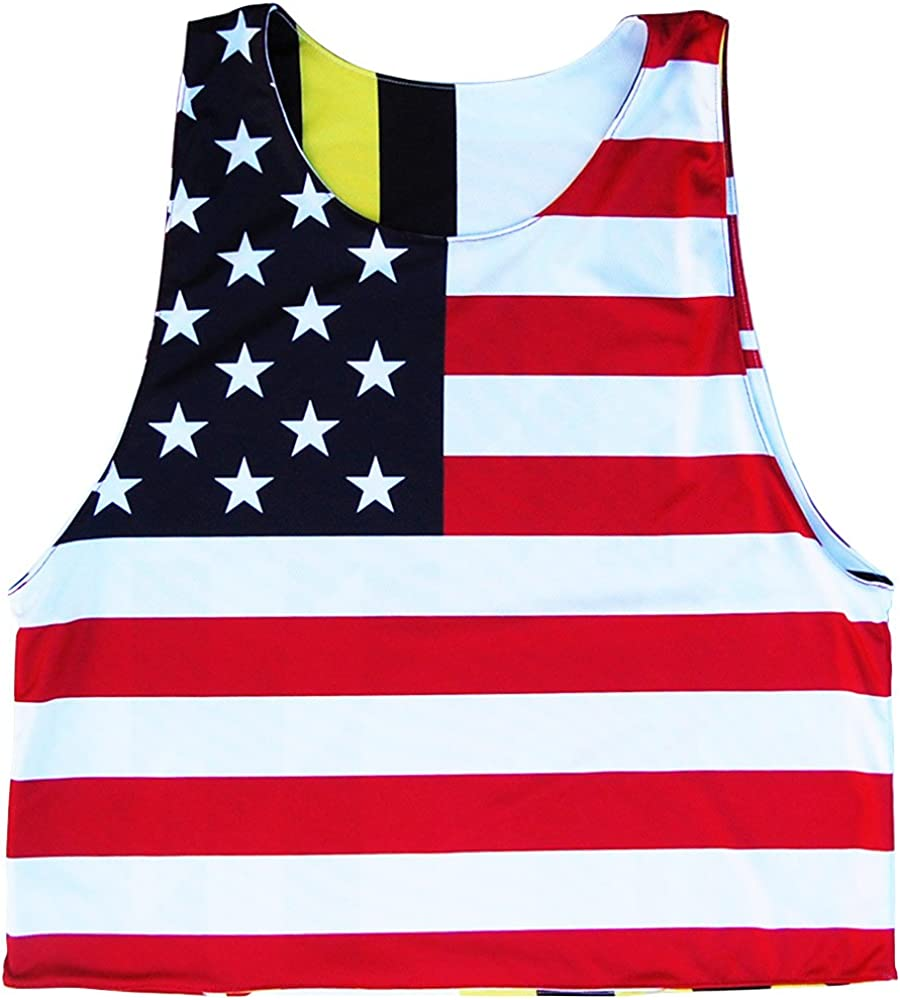 Georgia State Flag and American Flag Reversible Lacrosse Pinnie