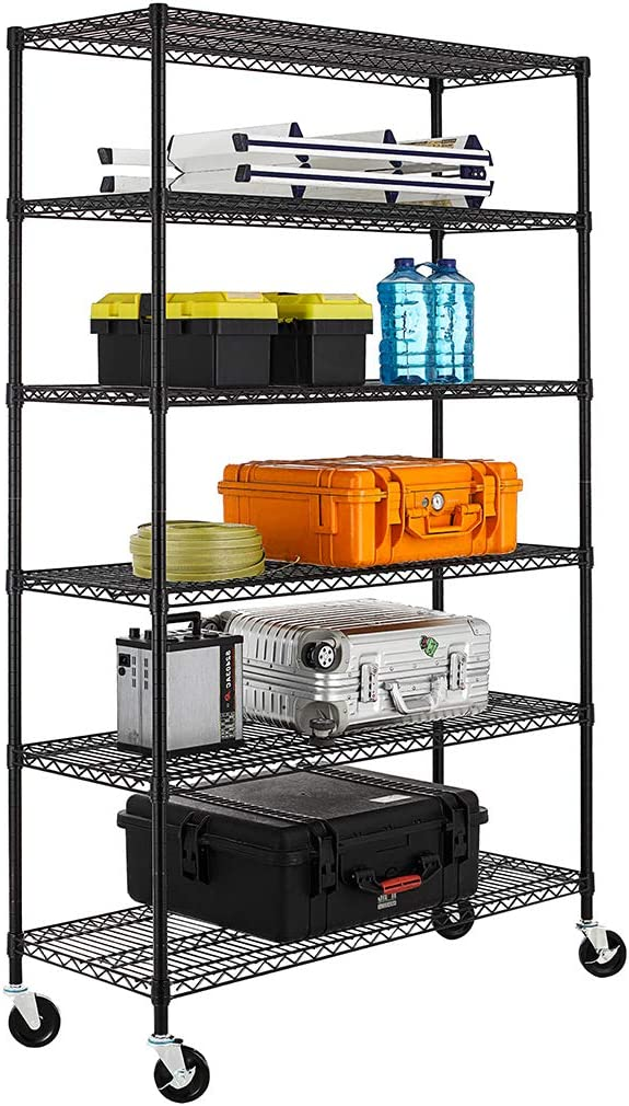 "NSF Wire Shelving Unit Heavy Duty Garage Storage Shelves Large Black Metal Shelf Organizer 6-Tier Height Adjustable Commercial Grade Utility Steel Storage Rack with Wheels,18"" D x 48"" W x 76"" H"