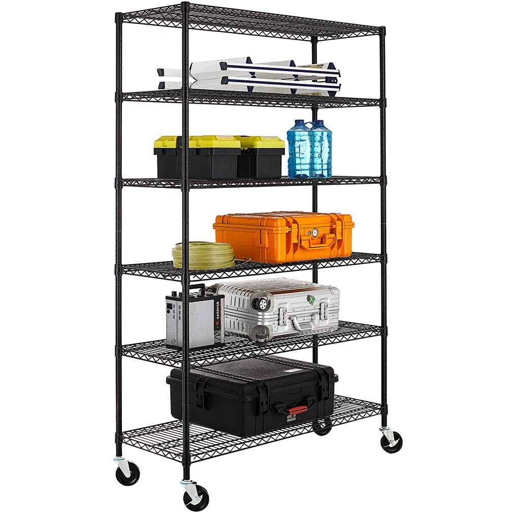 NSF Wire Shelving Unit 6-shelf Large Storage Shelves Heavy Duty Metal Wire Rack Shelving Height Adjustable Commercial Grade Utility Steel Storage Rack on 4'' Casters 3600 LBS Capacity-18x48x76,Black by BestOffice