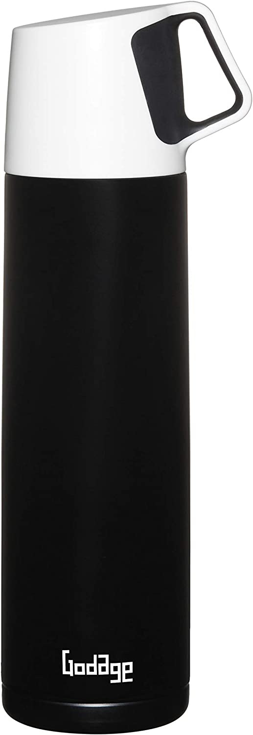 GODAGE Stainless Steel Double Wall Coffee Thermos, Vacuum Bottle, Amazing Temperature Retention Effect, for Hot and Cold, Leak and Sweat Proof, Built in Cup, 17 Ounce (500ml), BPA Free (Black)