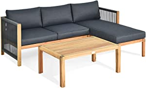Giantex 3 Piece Outdoor Patio Furniture Set, Acacia Wood Sectional Sofa w/Seat Cushions, Wooden Conversation Seat Couches and Coffee Table, Cushioned Garden Sofa Set for Outdoor Indoor (Grey)
