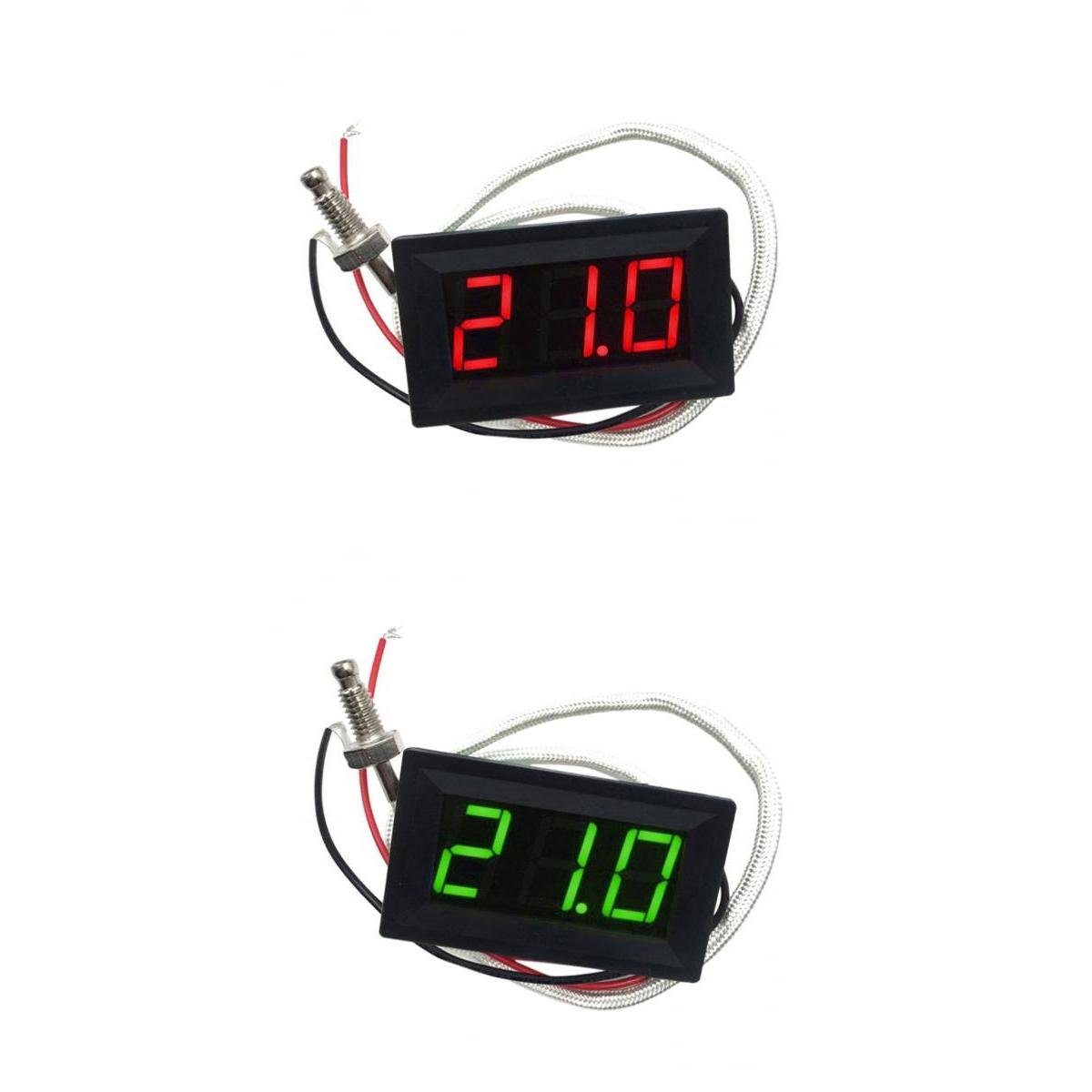 MagiDeal 2 Pieces DC 12V -30 to 800 Celsius Digital LED Thermometer Temperature Detector Meter non-brand