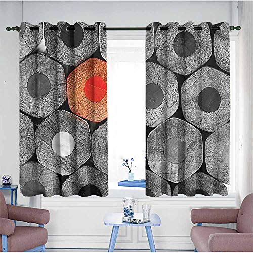 VIVIDX Extra Wide Patio Door Curtain,Red and Black,Kids Coloring Crayons,Great for Living Rooms & Bedrooms,W55x72L