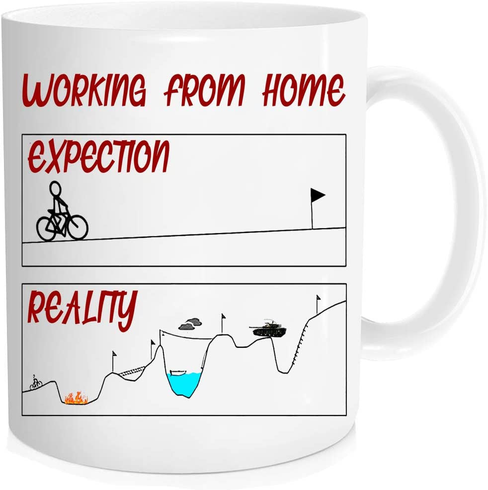 Funny coffee Mug - WORK FROM HOME expectations mug, work from home mug, working from homeCup, Mugs for friends, colleagues and family - 11 oz Novelty Mug