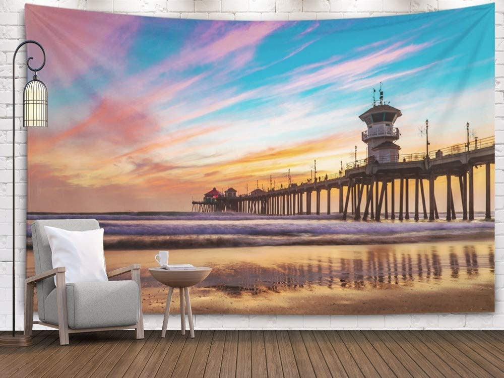 Shorping Large Tapestry,Wall Tapestry, 80x60Inches Home Art of Cotton for Décor Living Room Dorm Colors of Sunset by Huntington Beach Pier in The Famous surf City California