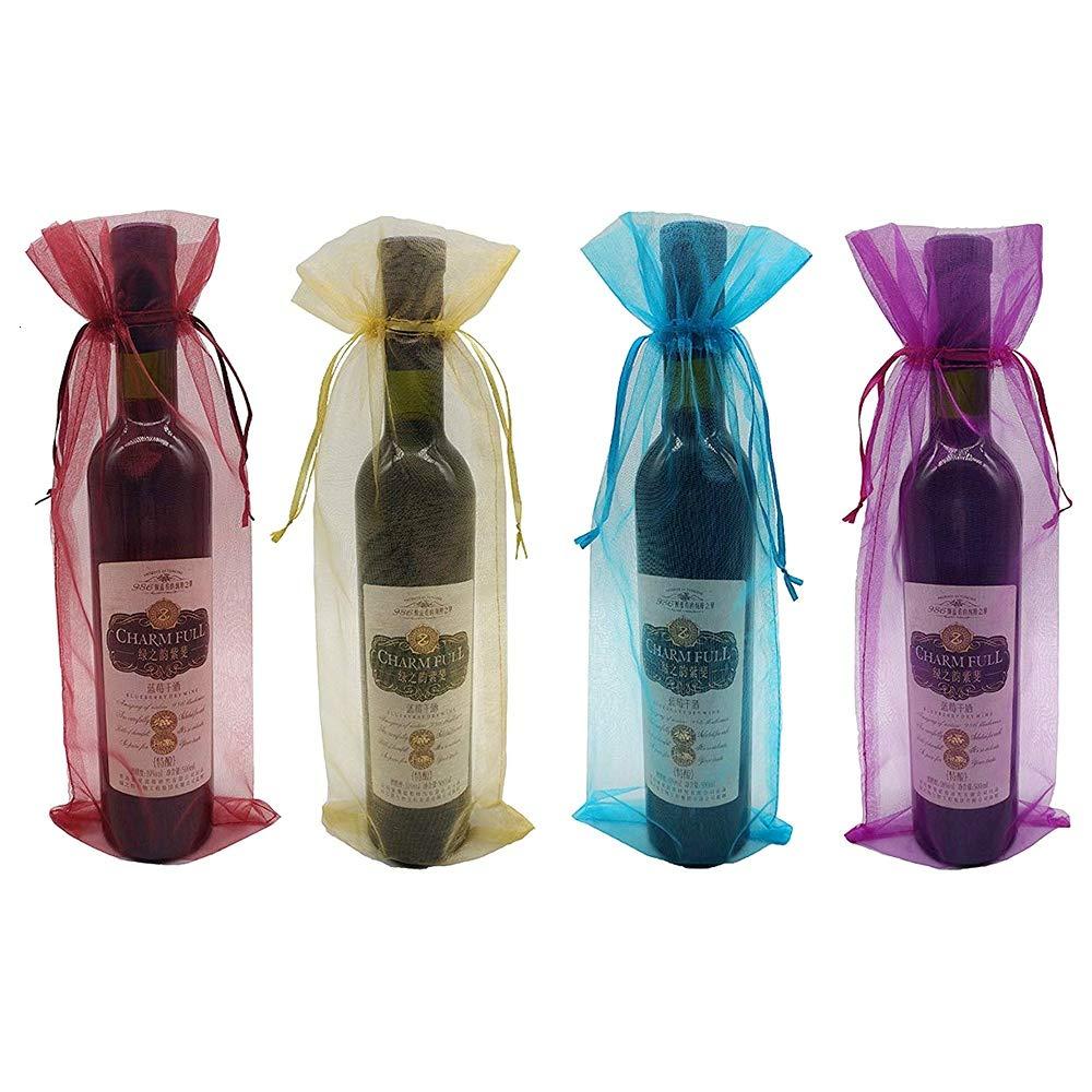 Feeko Bolsa de Vino, 20 Bolsas de Vino de Organza Transparente, Reutilizables, con cordón para Botellas, Ideal para Vacaciones, Baby Shower, Bodas, ...