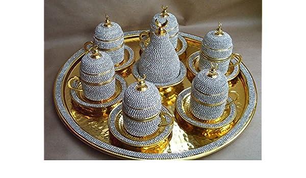 Juego de café turco con revestimiento de cristal para seis juego de café con revestimiento de, hecho a mano con cristal de Swarovski, juego de taza de café, ...