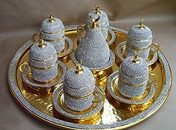 Juego de café turco con revestimiento de cristal para seis juego de café con revestimiento de