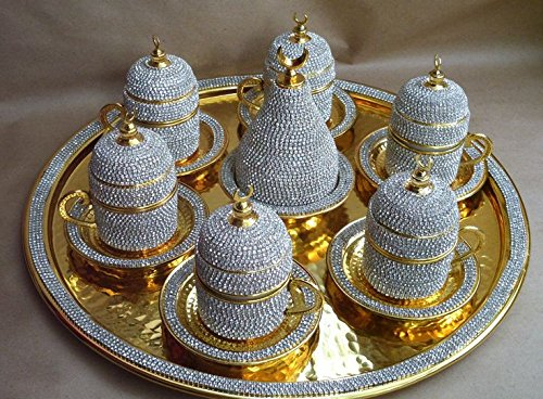 Crystal Coated Turkish Coffee Set for Six, Handmade Swarovski Crystal Coated Coffee Set, Coffee Cup Set, Turkish Coffee Set for Two, Luxurious Turkish Coffee Set for Six, Complete Turkish Coffee Set, Turkish Coffee Set for Six