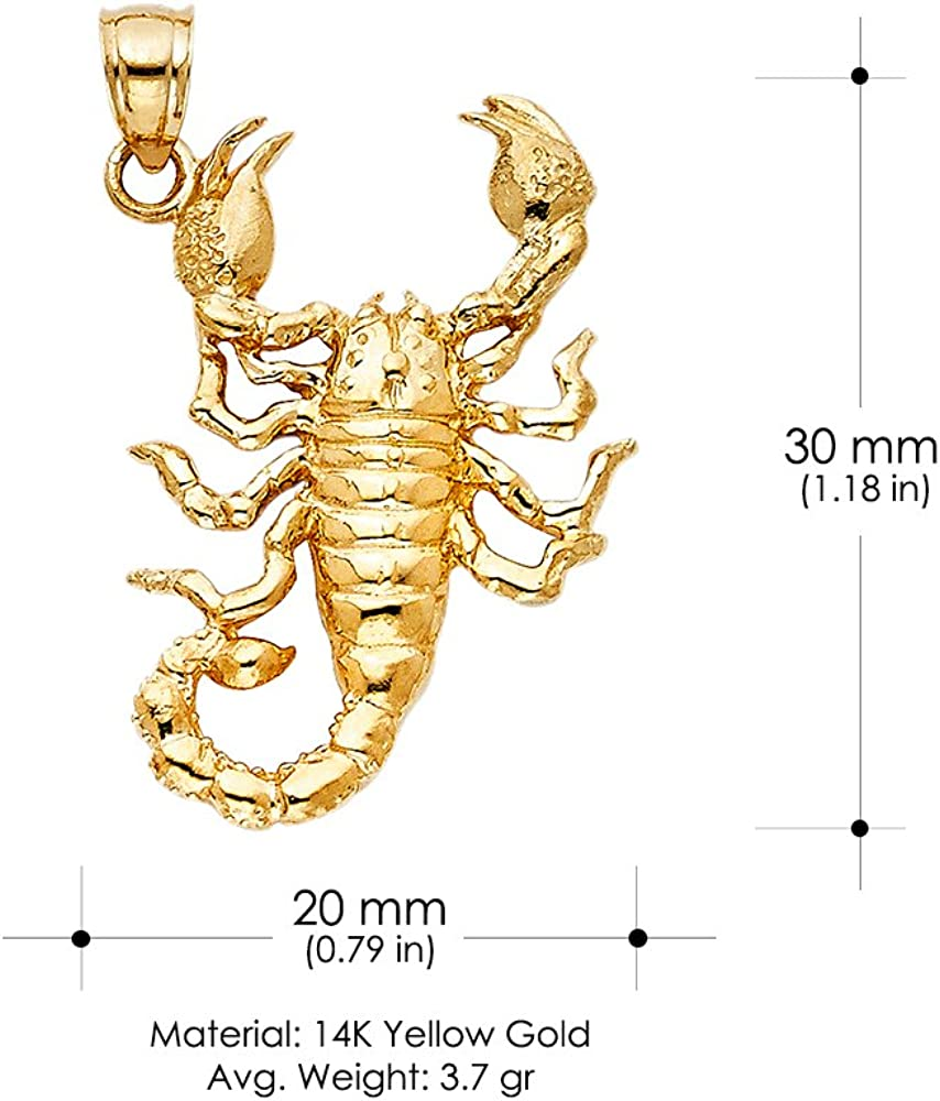 14K Yellow Gold Scorpion Charm Pendant For Necklace or Chain