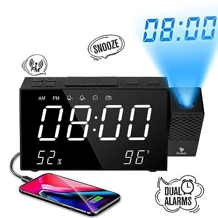iFuntec Radio Despertador Digital Proyector, FM Radio Reloj Despertador con 7LED Pantalla Grande, Proyector Digital de Alarma Dual, Puerto USB, ...