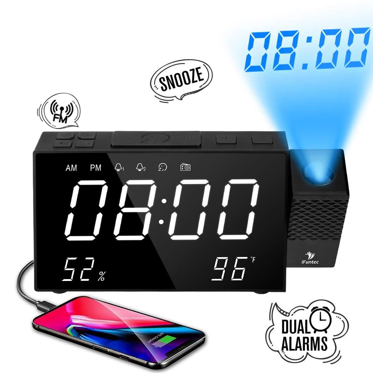 Despertador Proyector, Despertador Reloj Digital de Proyección, con Radio FM, Alarmas Dobles,