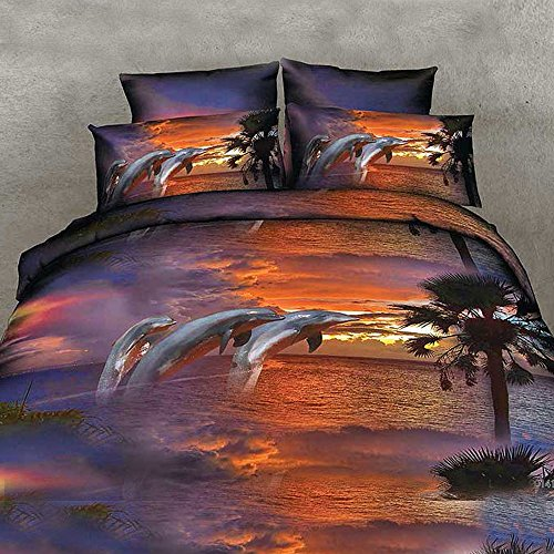 Alicemall Twin Size Dolphin Bedding Set 3D Twilight Scenery Jumping Dolphins Oil Painting 4-Piece Polyester Duvet Cover Sets Ocean , Twin/ Full Size Bedding Sets, No Comforter (Twin-11475841) (Twilight Comforter)