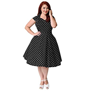 EK Motorcycle Chain Plus Size Style Polka Dot Pattern Vintage Party Prom Club Sleeveless Evening Dresses