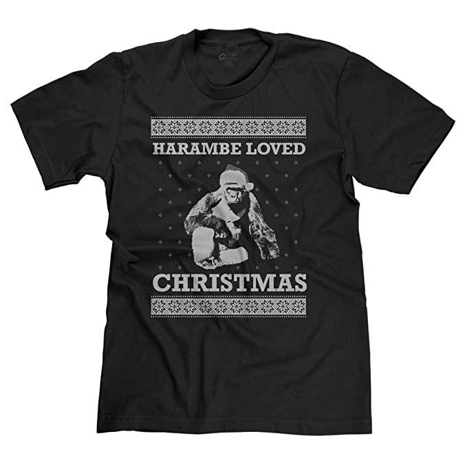 freshrags harambe loved christmas ugly sweater funny mens t shirt sm black 424