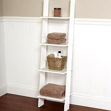 Escalera blanca para cuarto de baño, torre de lino, estante de almacenamiento alto, escalera de tocador delgada, pequeña torre de baño, ahorro de espacio y libro electrónico: Amazon.es: Bricolaje y herramientas