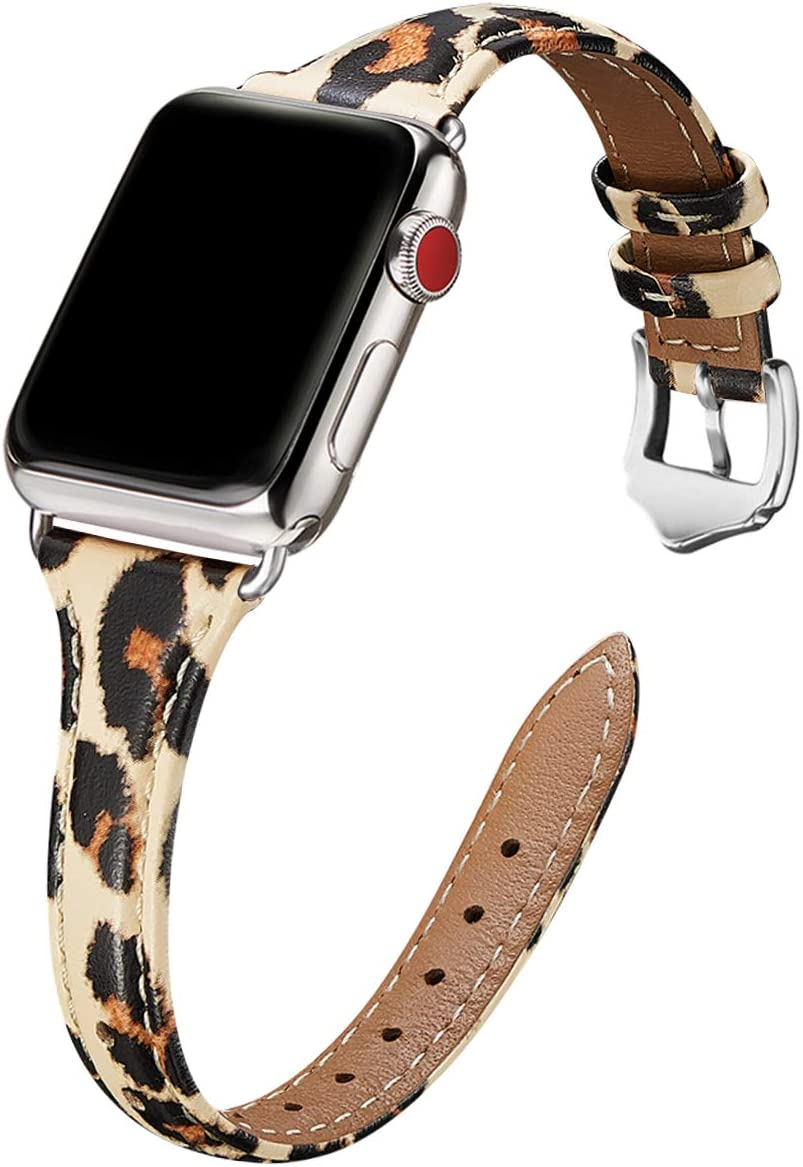 WFEAGL Leather Bands Compatible with Apple Watch 38mm 40mm 42mm 44mm, Top Grain Leather Band Slim & Thin Replacement Wristband for iWatch SE & Series 6/5/4/3/2/1 (Leopard+Silver, 38mm 40mm)