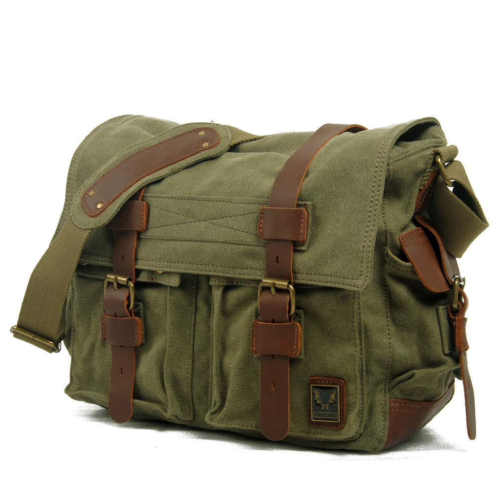 af7b824f893b Amazon.com: Men's Military Canvas Leather Satchel School 14