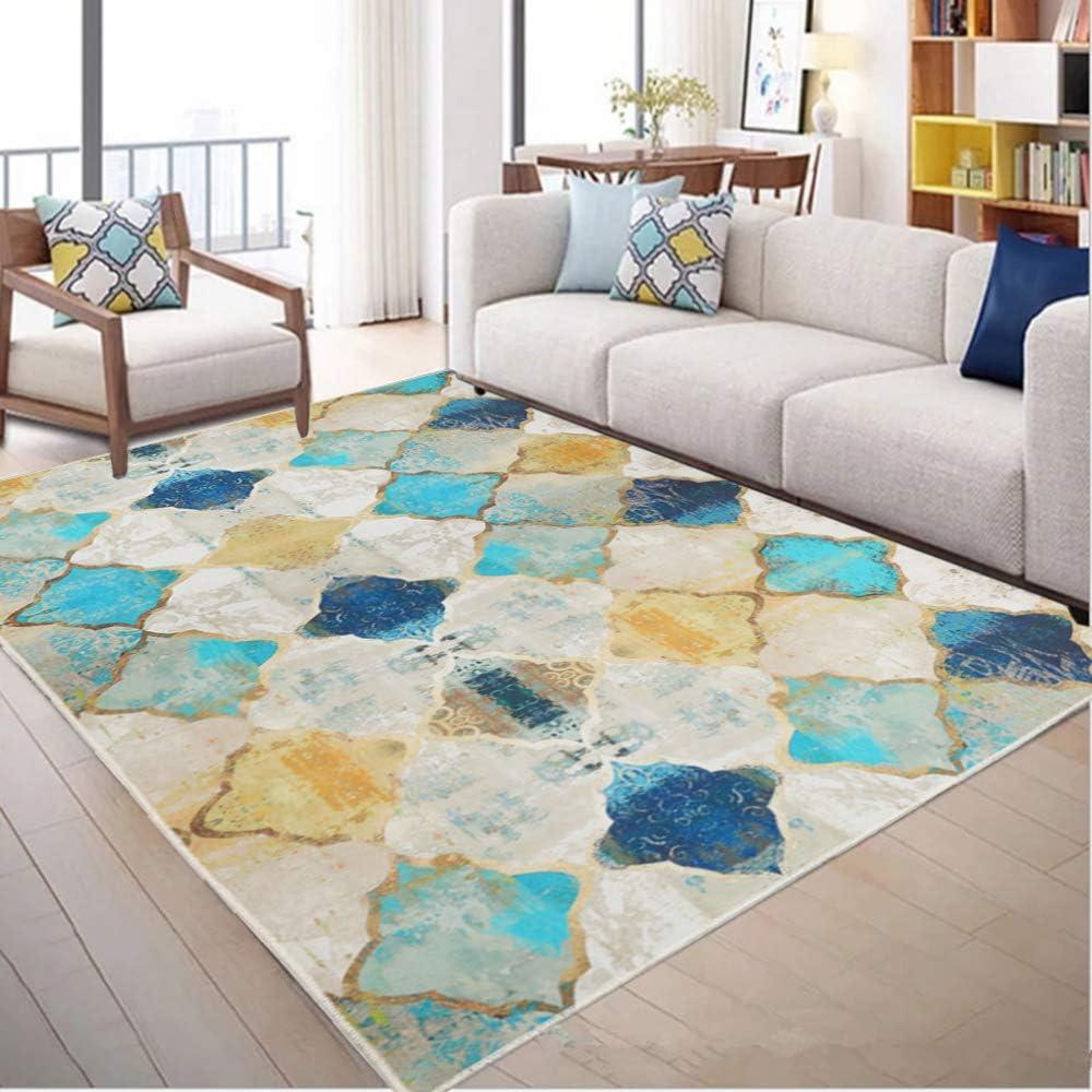 "HiiARug Distressed Golden and Turquosie Blue Area Rugs, 5' x 6'7"" Oriental Vintage Area Rug Anti-Skid Floor Carpet for Living Room Dinning Room Bedroom Office (5' x 6'7"")"
