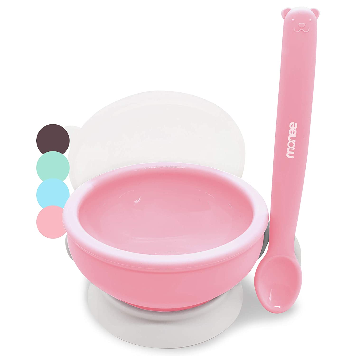 Platinum Silicone Baby Feeding Set, BPA Free, Dishwasher Safe, Leak Proof Lid, Storage & Travel, Spoon Doubles as a Soft Teether for Baby Led Weaning