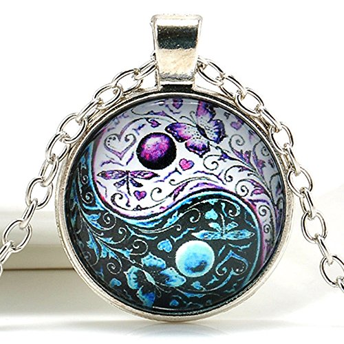 1pc Ying Yang Butterfly Pendant Tibet Silver Chain Necklace Cabochon Glass Jewelry AT0F