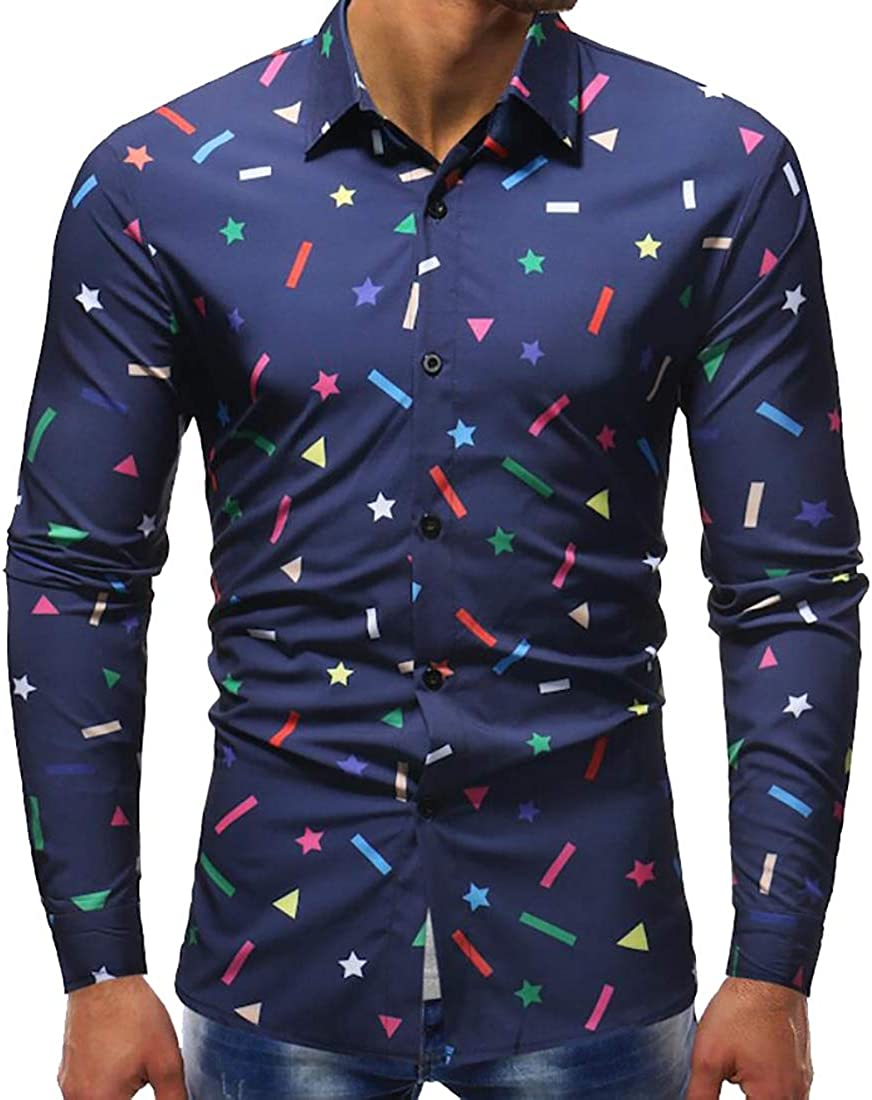 omniscient Men Printed Long Sleeve Slim Fit Button-Down Casual Shirts