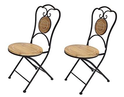 PierSurplus French Caf Bistro Folding Chair, Black Metal Frame, Wood Round  Seat, Set