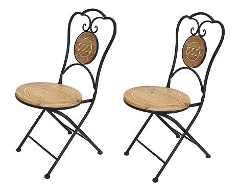 Francés Caf Bistro silla plegable, negro estructura de metal ...