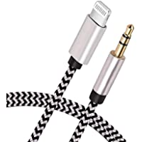 [Apple MFi Certified] iPhone AUX Cord for Car Stereo, Lightning to 3.5mm AUX Audio Nylon Braided Cable Compatible for iPhone 11/XS/XR/X 8 7 6 5, iPad, iPod to Speaker, Home Stereo, Headphone (Sliver)