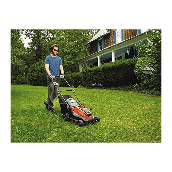 "BLACK+DECKER 40V MAX Cordless Lawn Mower, 16-Inch (CM1640) 4 Height Adjust- 6 settings, with a height of cut between 1-1/10"" and 3-1/10"" Includes (2) 40V Max Lithium Batteries Folding handles for easy & convenient storage"