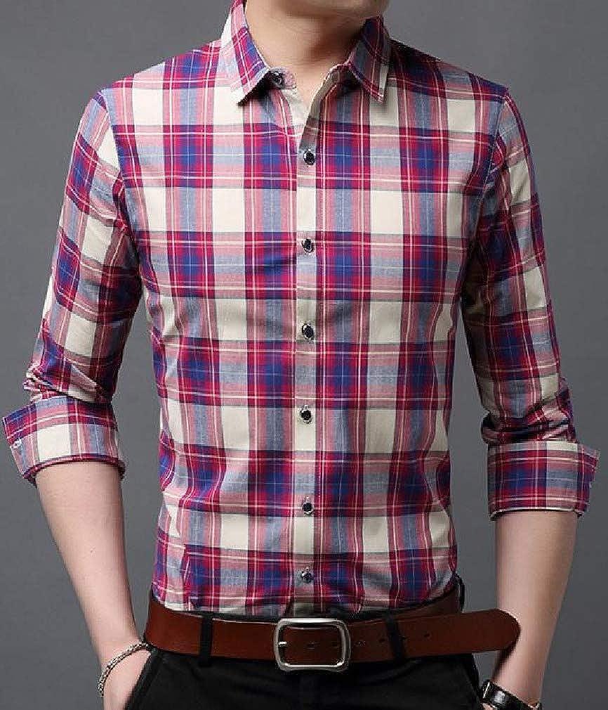 Abetteric Mens Britain Plaid Pattern Peaked Collar Silm Fit Long Sleeve Dress Shirt