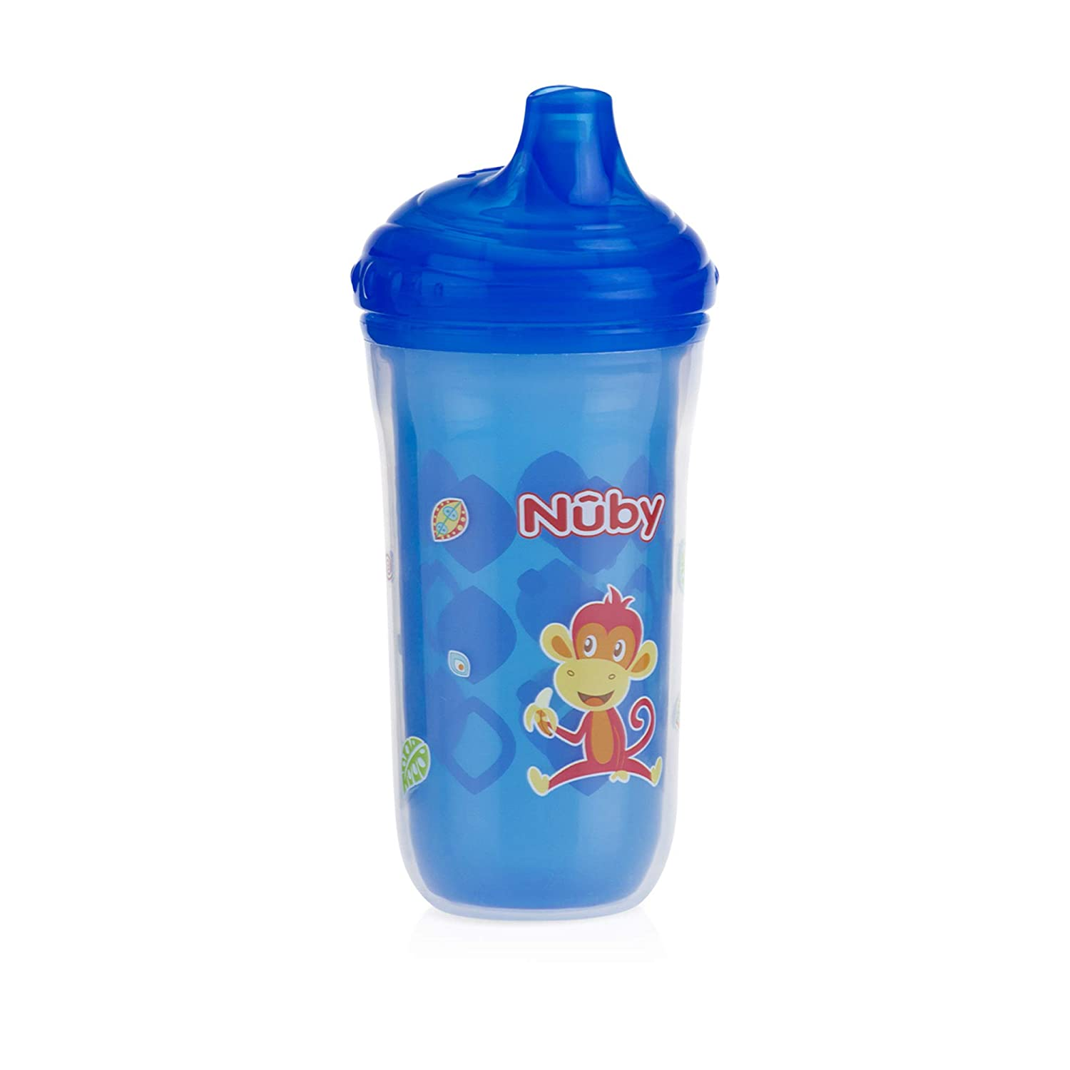Nuby 3 Piece Insulated No Spill Easy Sip Cup with Vari-Flo Valve Hard Spout 9 Oz Boy