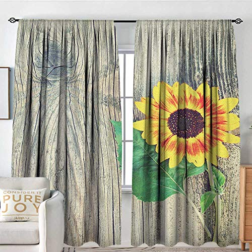 NUOMANAN Blackout Curtains Sunflower,Sunflower on Wooden Old Board Bouquet Floral Mother Earth Artsy Photo, Brown Green Yellow,for Room Darkening Panels for Living Room, Bedroom 120