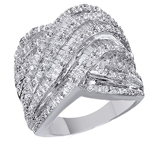 Jewel Zone US 1CT Baguette & Round Natural Diamonds Engagement Wedding Ring in 925 Sterling Silver