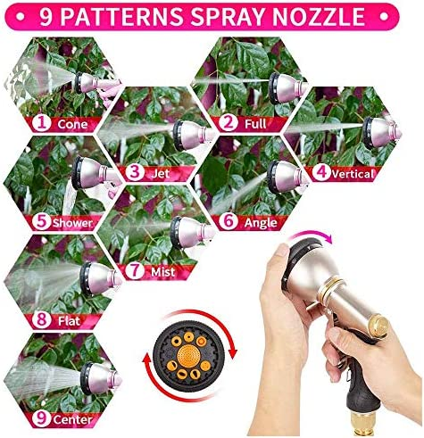 Jnzr Garden Hose Expandable,Leakproof Durable Flexible Garden Water Hose with 9 Spray Nozzle Water Gun and Solid Brass Connector Garden Hose Set,15m