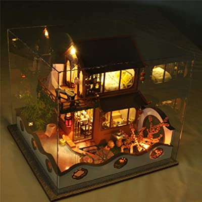 LCZHP Casa de Juguetes para niños, Casa de muñecas, Bricolaje Choza Fuente de Flor de durazno Modelo de casa pequeña Cosida a Mano Regalo para niños: Hogar
