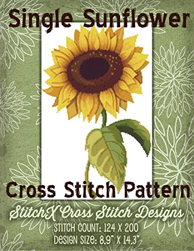 Single Sunflower Cross Stitch Pattern - Rich Colors Floral Design - Easy to Stitch