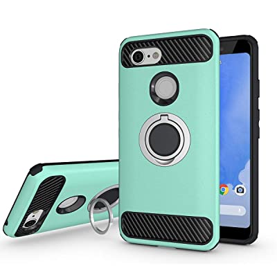 Newseego Compatible with Google Pixel 3 Case, Armor Dual Layer 2 in 1 and Finger Ring Holder Kickstand Fit Magnetic Car Mount for Google Pixel 3-Green: Electronics