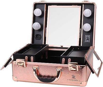LUVODI® Maleta Profesional de Maquillajes, Maletín de Cosméticos, Estuche de Maquillajes Profesional, con 4 Bombillas de Luces y Espejo: Amazon.es: Equipaje