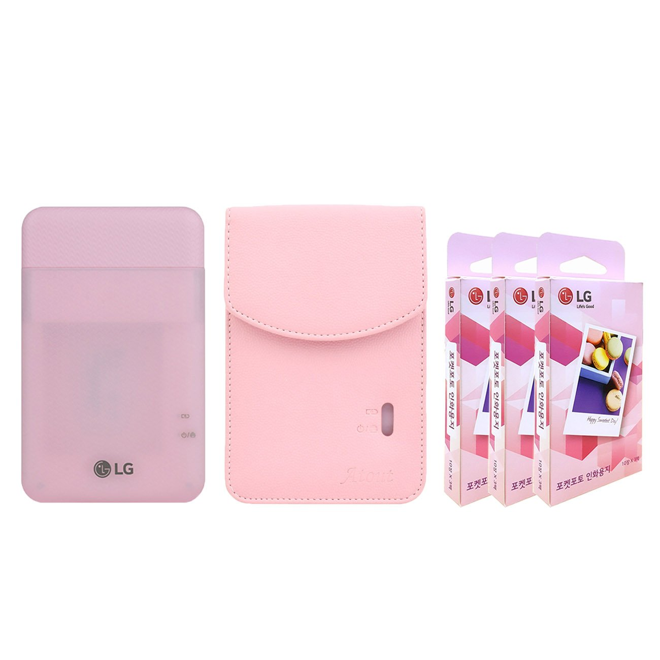 LG PD261 Portable Mobile Pocket Photo Printer [Pink] + Zink Paper 90 Sheets + Atout Premium Synthetic Leather Case [Pink] with Gift USB Cable [International Version] by LG