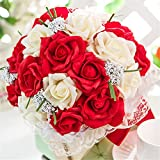 Wedding Flowers Bridal Beautiful Bouquets Romantic Bride Wedding Holding Bouquet With Lace Roses Multi-color Bridesmaid Artificial Holding Flowers