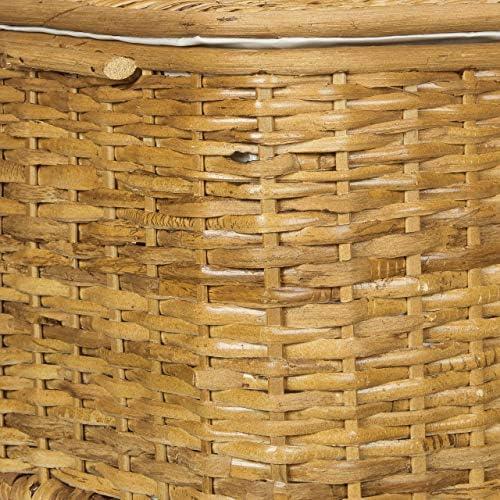 Relaxdays Coffre lot de 2 en rotin tress/é capacit/é 28 L corbeille panier malle bo/îte rectangle empilable H l P 26 x 50 x 295 cm doublure en tissu amovible respirant d/écoratif campagne brun choco