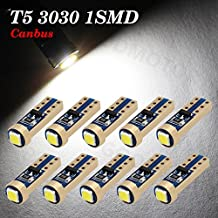 Boodled 10x Super Bright 3030 SMD T5 Canbus Error Free White Instrument Speedo Gauge Cluster 37 73 74 79 17 57 LED Lights bulb (10xT5-3030-1-W-JM)