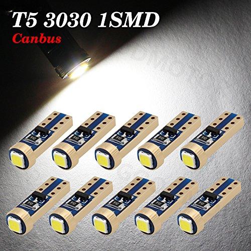 Boodled 10pcs Super Bright 3030 SMD T5 Canbus Error Free Instrument Speedo Gauge Cluster 37 73 74 79 17 57 LED Lights bulb (10xT5-3030-1-JM) (Super White 6000k~6500K)