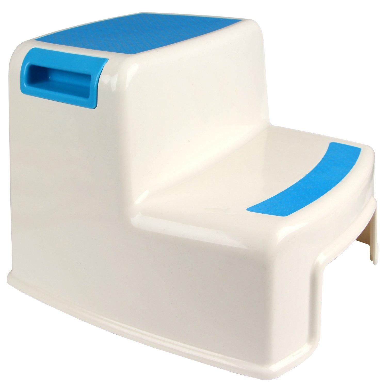 Yier Salle de bain en plastique enfant 2 étagères pour tabouret de cuisine enfants 2 étapes pour toilette, blanc