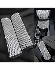 EING 4pcs/Set Crystal Diamond Seat Belt Cover & Gear Shift Knob Cover & Handbrake Cover - Rhinestone Leather Handcraft Bling Bling Car Accessories for Women Universal Fit