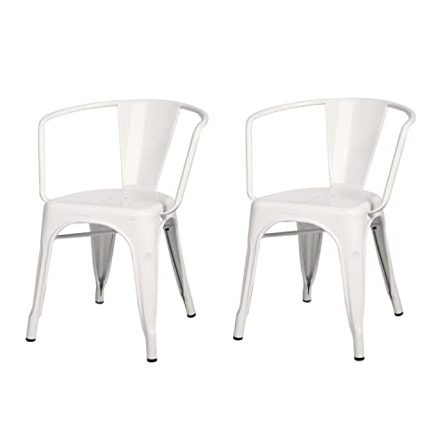 Adeco Metal Stackable Industrial Dining Bistro Cafe Side Chairs With Arm – White – Set of 2