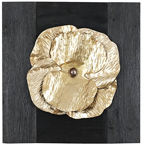 HobbitHoleCo 20.75-Inch by 20.5-Inch Mixed Media Metal Art Décor, Sam O., Golden Metal Floral by HobbitHoleCo